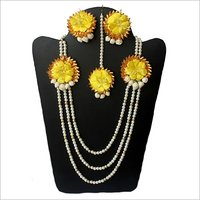 Artificial Flower Handcrafted Necklace Set