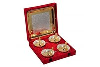 Festival Gift Gold & Silver Plated Brass Bowls Set