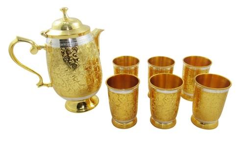GOLD SILVER PLATED SIX LEMON GLASS JUG SET