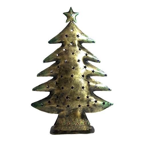 Home Decorative Indian Handmade Christmas Tree Design Tea Light Candle Metal Holder