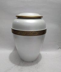 White Metal Cremation Urn