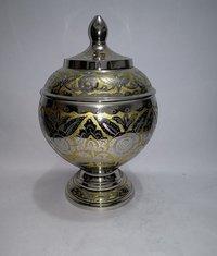 Silver & Gold Brass Metal Cremation Urn