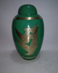 Dark Green Three Doves Brass Cremation Urn