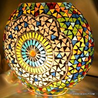 PURSE SHAPE MOSAIC GLASS TABLE LAMP