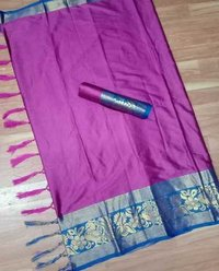 Soft Cotton Silk Saree With Big Peacock Designed Border
