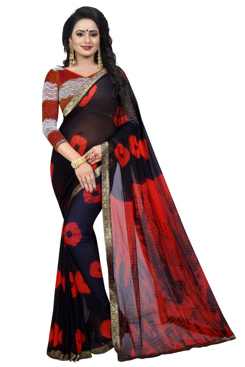 New Bandhani Saree With Jacquard Lace