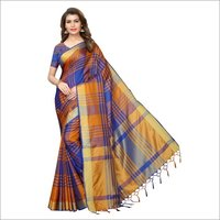 New Design Saree In Cotton Silk With Ikkat Checks