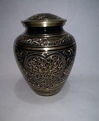 Black & Gold Brass Funeral Urn