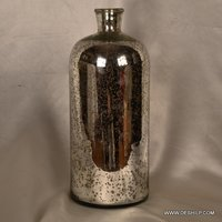 VERY LONG SILVER GLASS PERFUME BOTTLE AND DECANTER