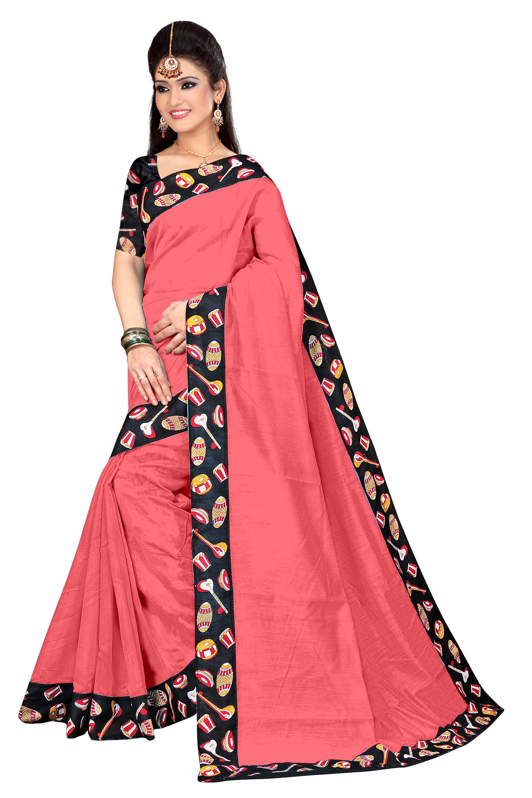 Fancy Chanderi Cotton Black Tebla Saree