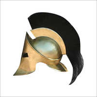 Antique Steel Spartan Helmet With Black Plume