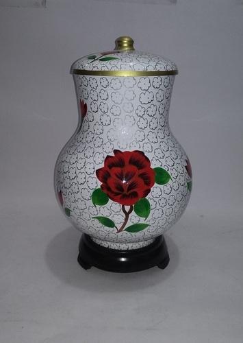 Red Rose Cloisonne Cremation Urn