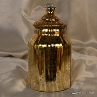 SILVER GLASS GOLDEN COLOR JAR