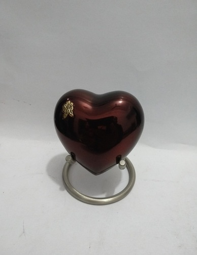 Classic Red Heart Keepsake Urn with Stand