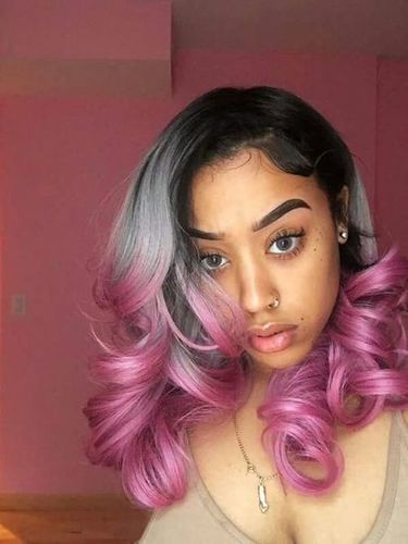 Black Gray Pink Body Wave Wig