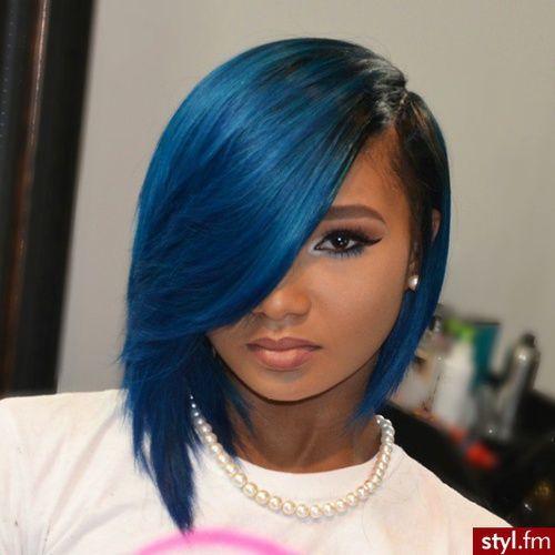 Blue Straight Bob