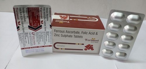 Ferrous Ascorbate 100mg, Folic acid 1.5mg &  Zinc 22.5 Tablets
