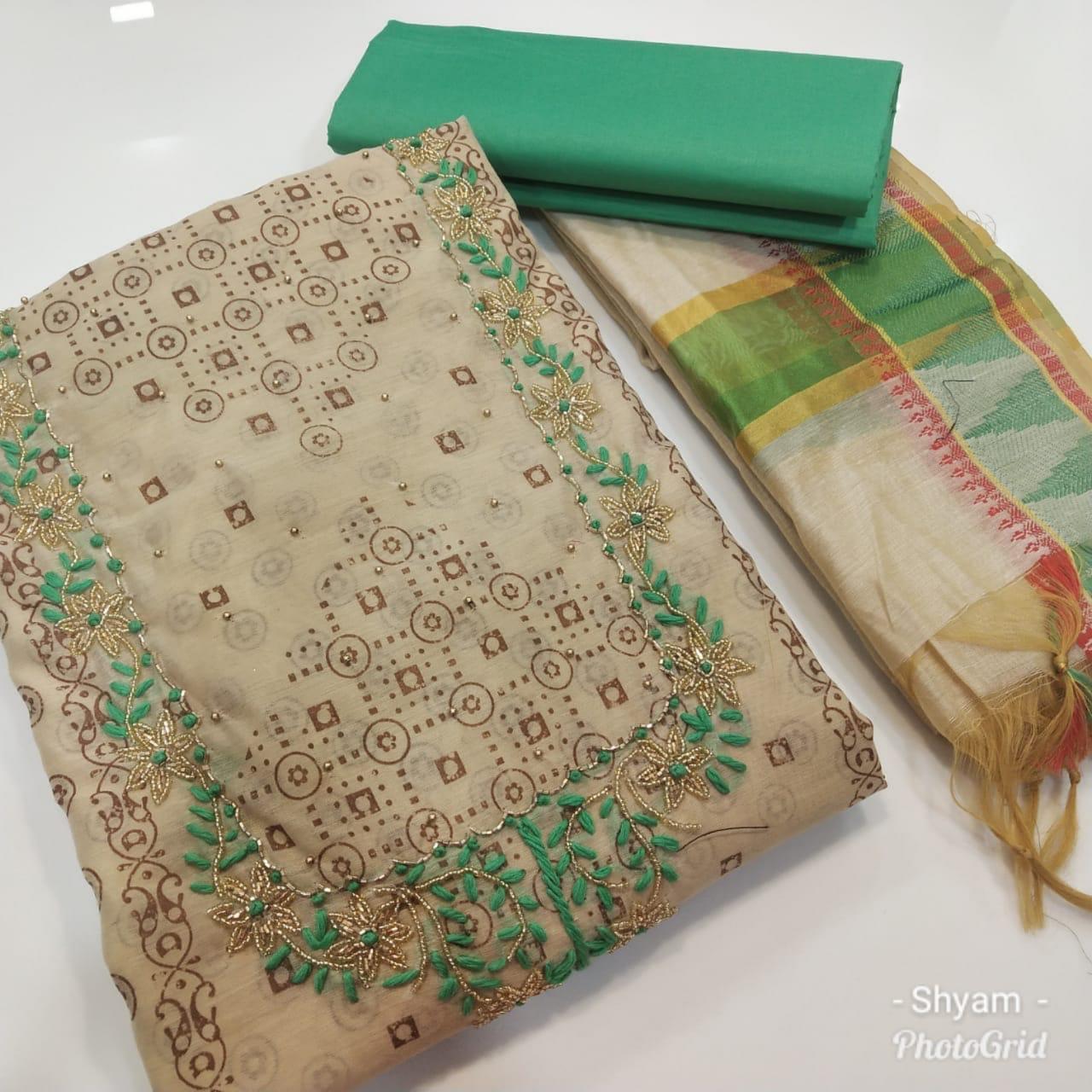 Indain Chanderi Dress Material