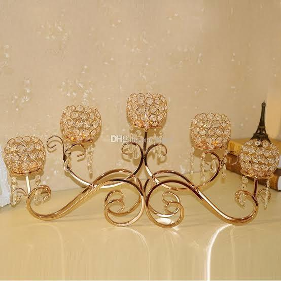 5 linear Crystal candle holder