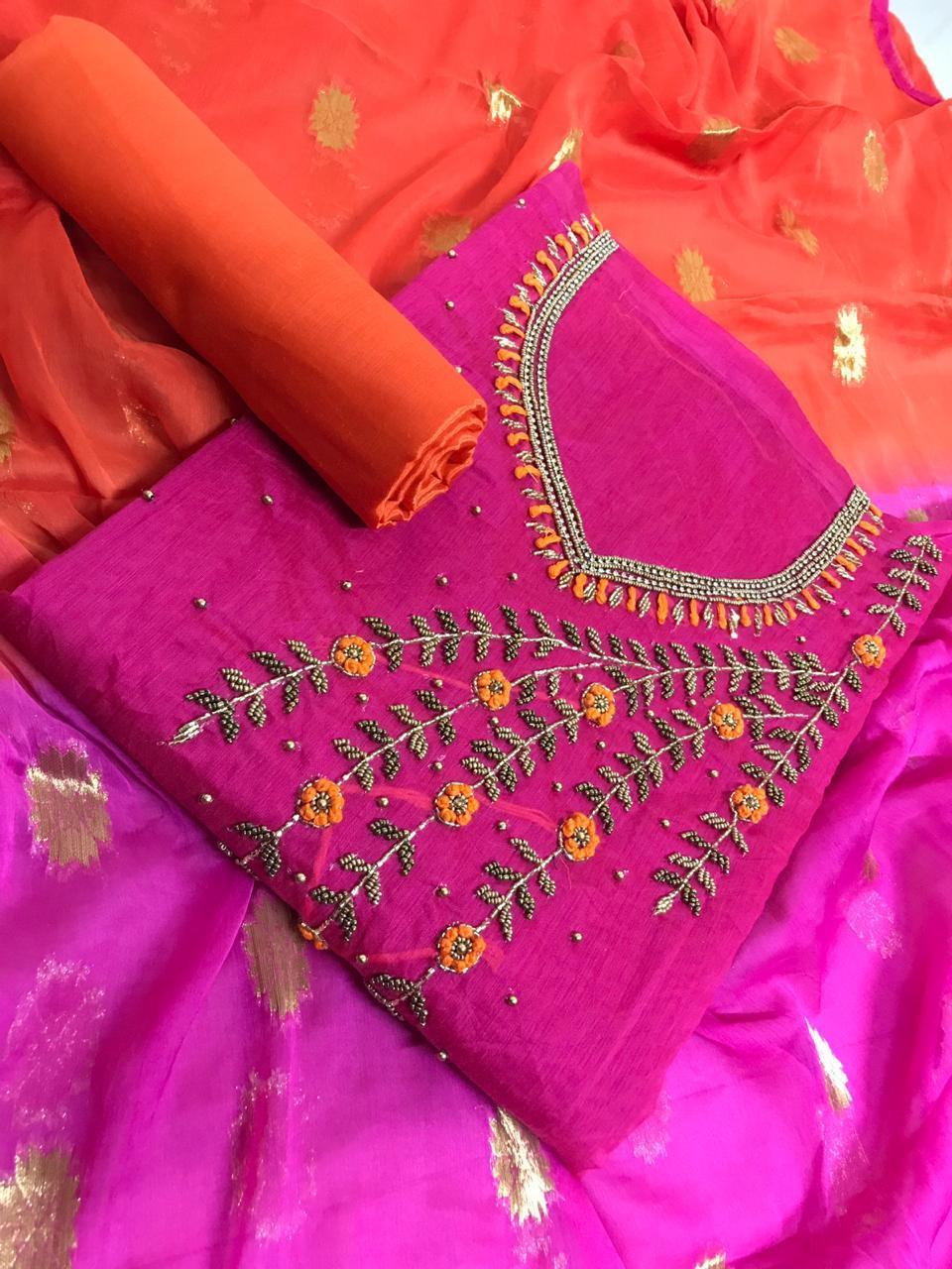 Designer Chanderi Dress Material