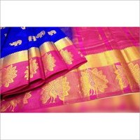 Kanjivaram Star Peacock Design Saree