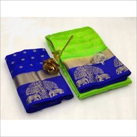 Kanjivaram Tree Elephant Design Saree