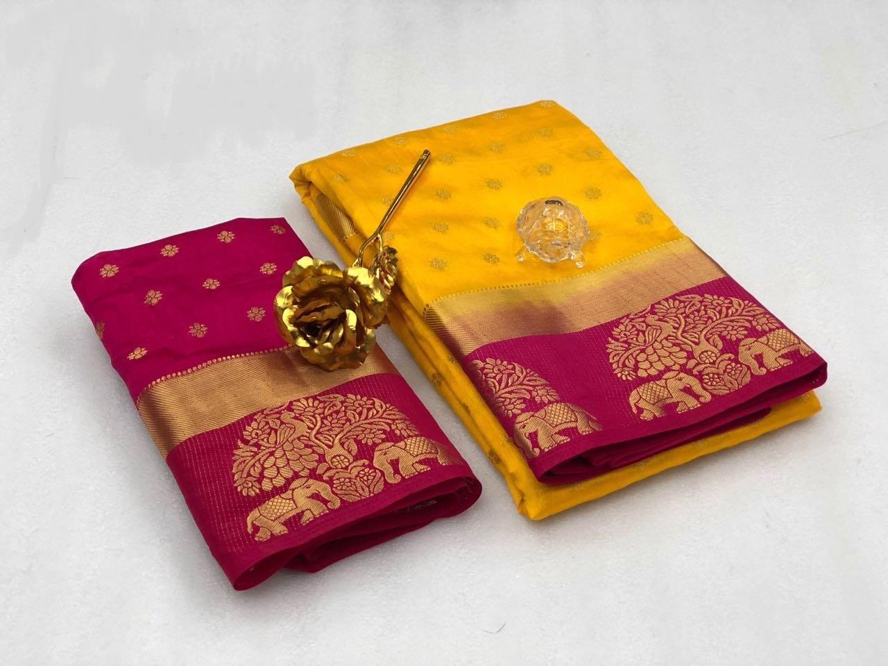Kanjivaram Tree Elephant Design Saree