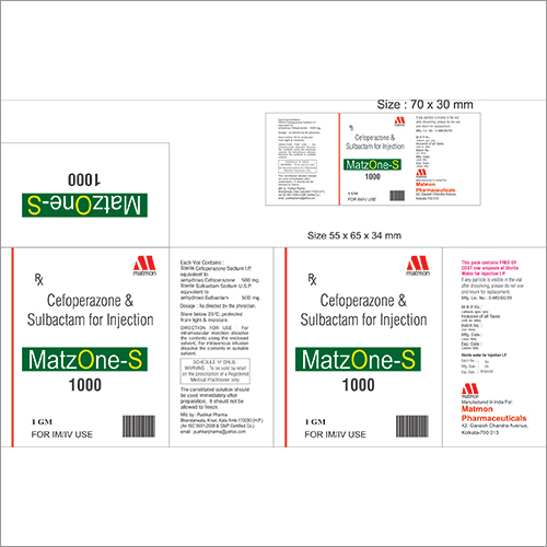 Cefoperazone 500mg + Sulbactam 500 mg Injection