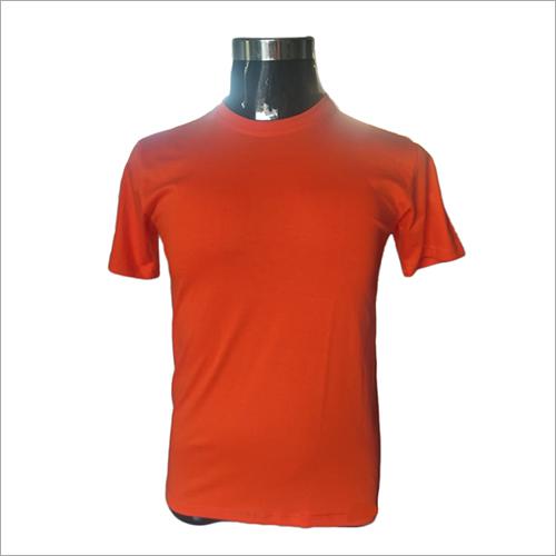 Mens Round Neck Orange T-Shirts