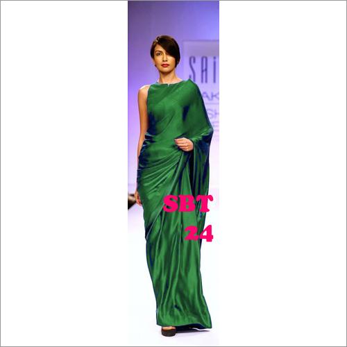Beautiful Plain Satin Silk Saree