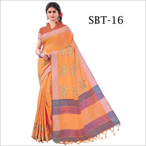 Orange Embroidery Saree