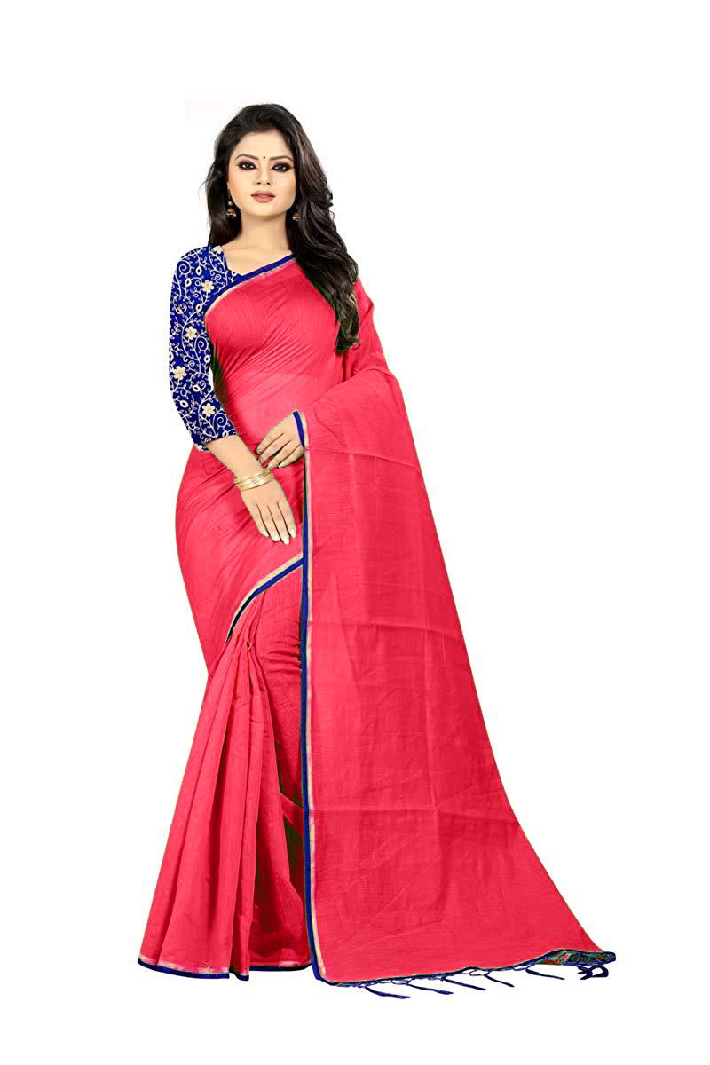 Doriya Cotton Saree With Piping & Jhalar