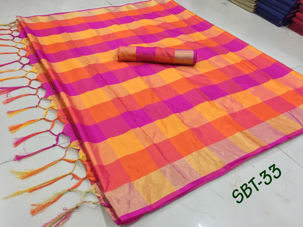 NEW Checks Printed Saree With Jhalar