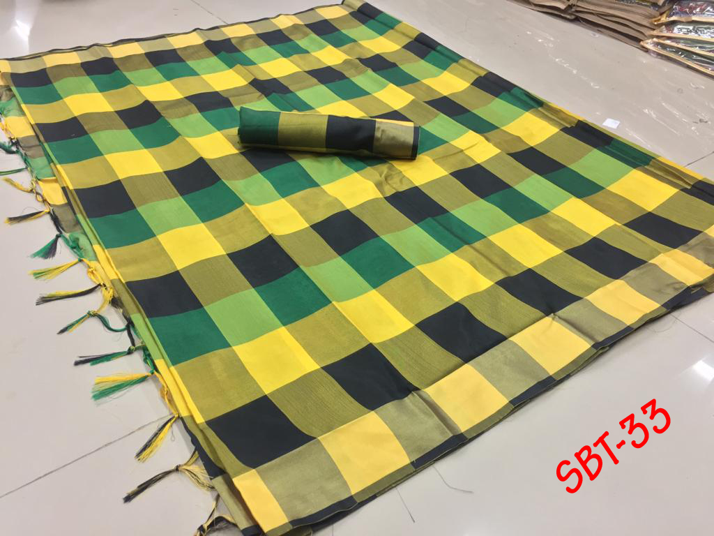 NEW Checks Printed Saree With Jhalar