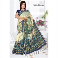 Saniya Patti Printed Saree With Jhalar