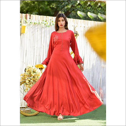 Ladies Red Designer Gown