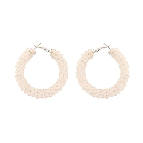 White beaded  women earring
