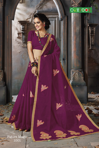 Pure Cotton Fancy Embroidery Saree
