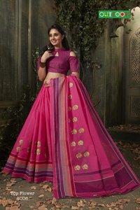 Pure cotton embroidery saree