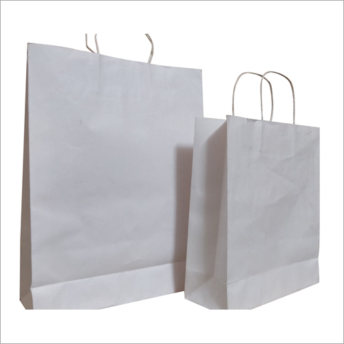 Plain White Kraft Paper Shopping Bag