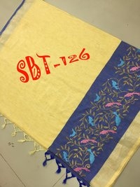 Linen Embroidery Work Saree