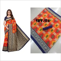 Printed Art Silk Saree With Blouse Piece