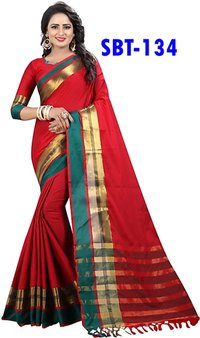 SOFT COTTON SILK SAREE WITH FANCY JHALAR