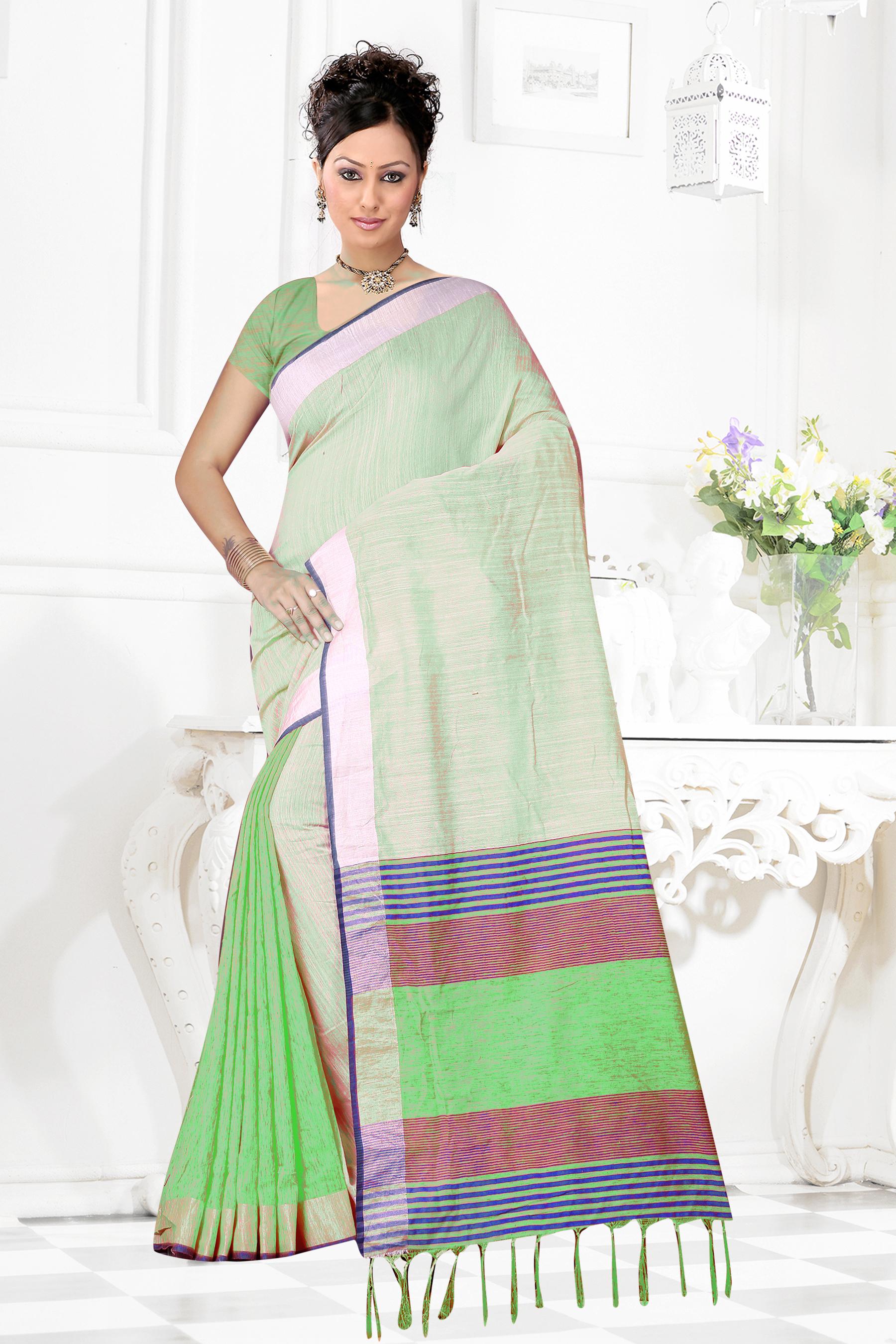 Linen Cotton Saree With Jhalar