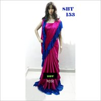 Plain Japan Satin With lycra Lace Border Saree