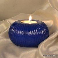 Glass Blue Color Tea Light Holder