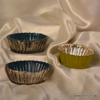 SILVER GLASS DECOR TABLE BOWLS