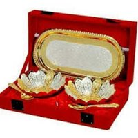 Gold Plated Brass Bowl & Tray Set