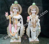 Golden Work Radha Krishna Statue
