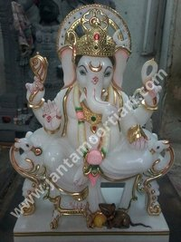Antique Marble Ganesha Statue